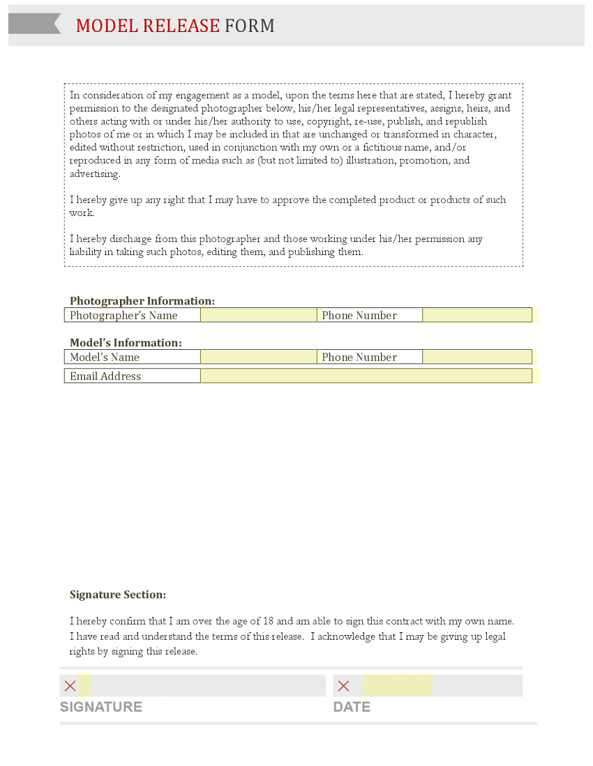 Talent Release Form Indiana University Bloomington Business Form Template Gallery