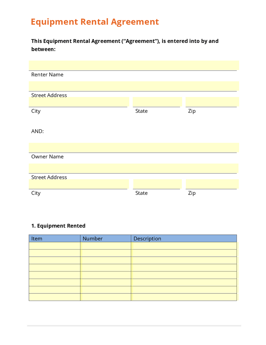 Equipment Rental Agreement Alberta – Sample Equipment Rental Agreement