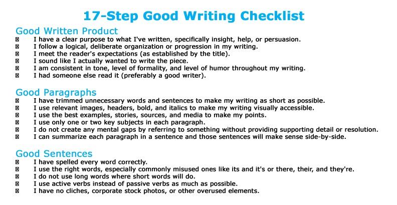 Checklist essay writing
