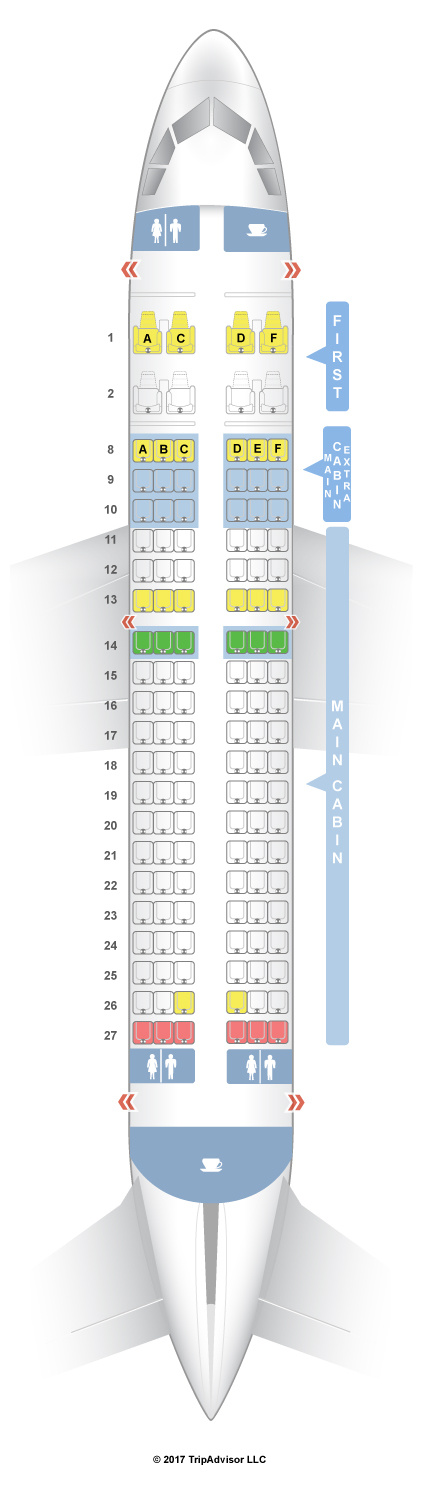 SeatGuru Seat Map American Airlines Airbus A319 (319) V1 TRAVEL - standard service contract