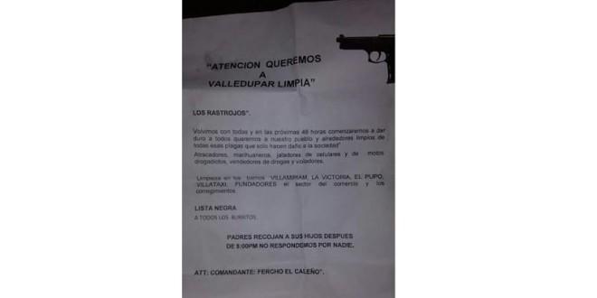 Con panfleto amenazan hacer limpieza en cuatro barrios de Valledupar