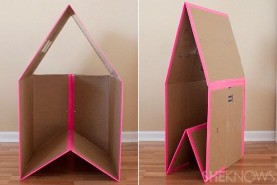 Juguetes reciclados: casita de cartón