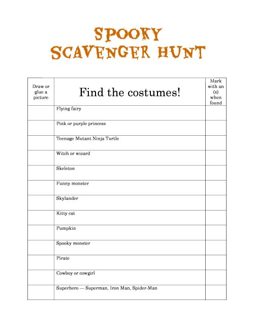Fun Allparenting Spooky Scavenger Hunt Printable Spooky Scavenger Hunts Photo Scavenger Hunt Ideas Team Building Wedding Photo Scavenger Hunt Ideas