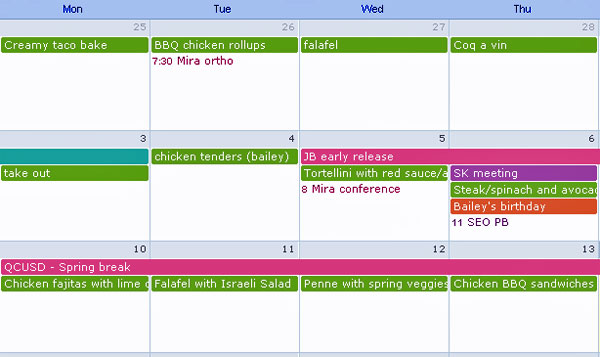 Meal planning Google Calendar - meal calendar