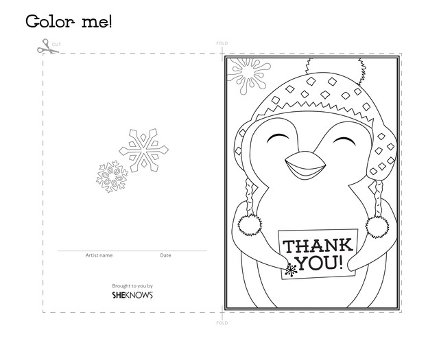 Penguin holiday thank you card - Free Printable Coloring Pages - printable thank you cards black and white