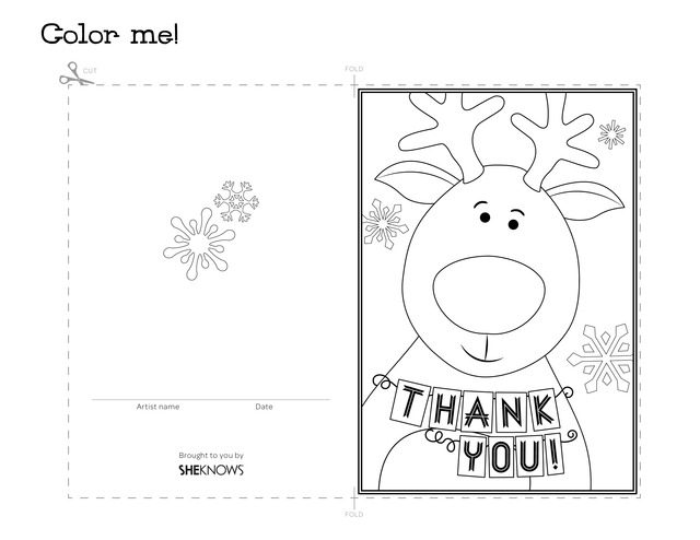 Reindeer holiday thank you card - Free Printable Coloring Pages - printable thank you cards black and white