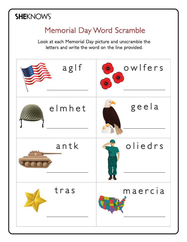 Memorial Day word scramble - Free Printable Coloring Pages