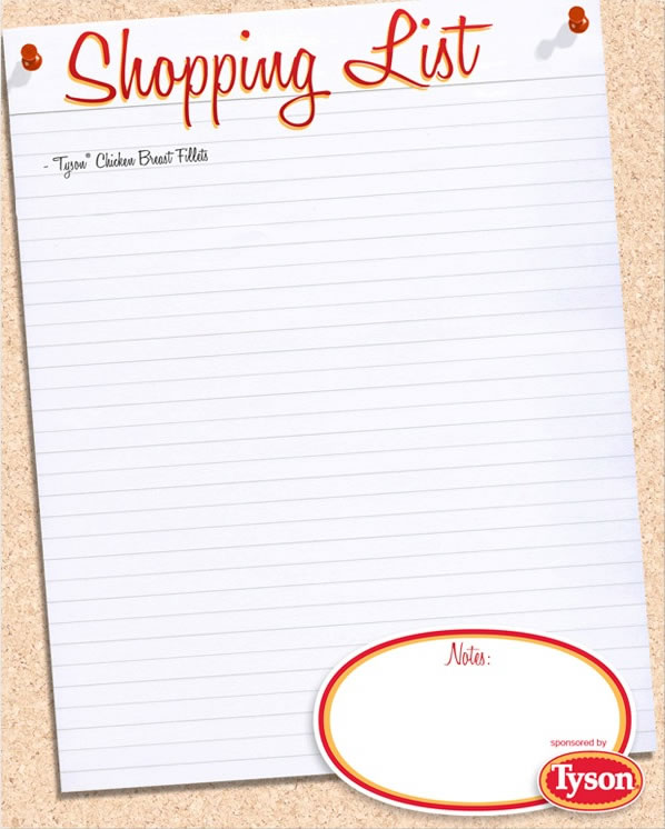 Printable grocery shopping list - printable shopping list