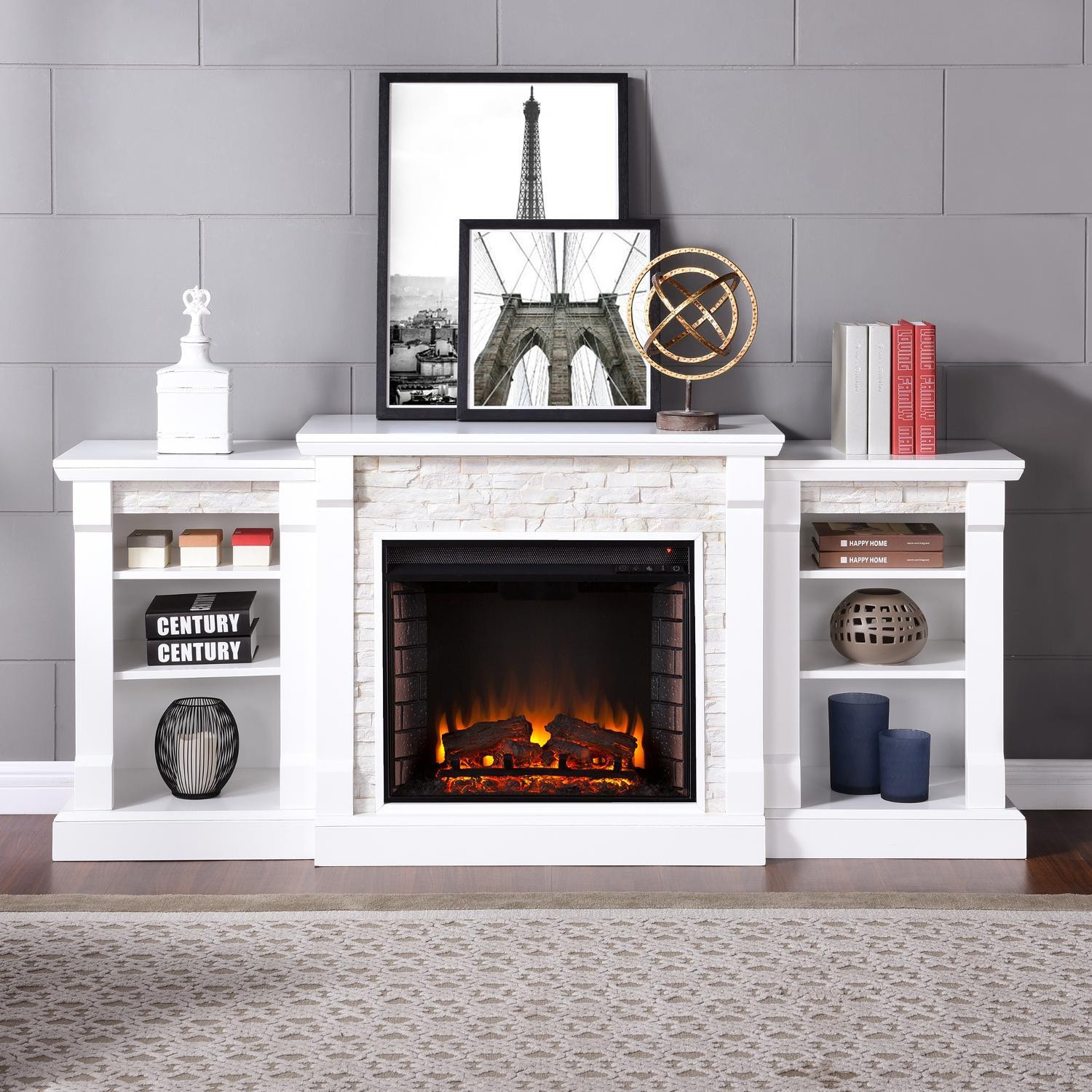 Fireplace Stone Southern Enterprises Gallatin 71 Inch Electric Fireplace W Bookcases White W White Faux Stone Fe8526