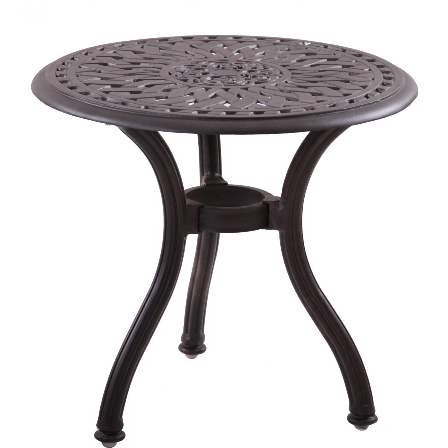 Round Patio Furniture Details About Darlee Series 60 Cast Aluminum Round Patio End Table Mocha