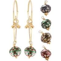 Shop Designer Gold Plated Hanging Meena Balls Earrings ...