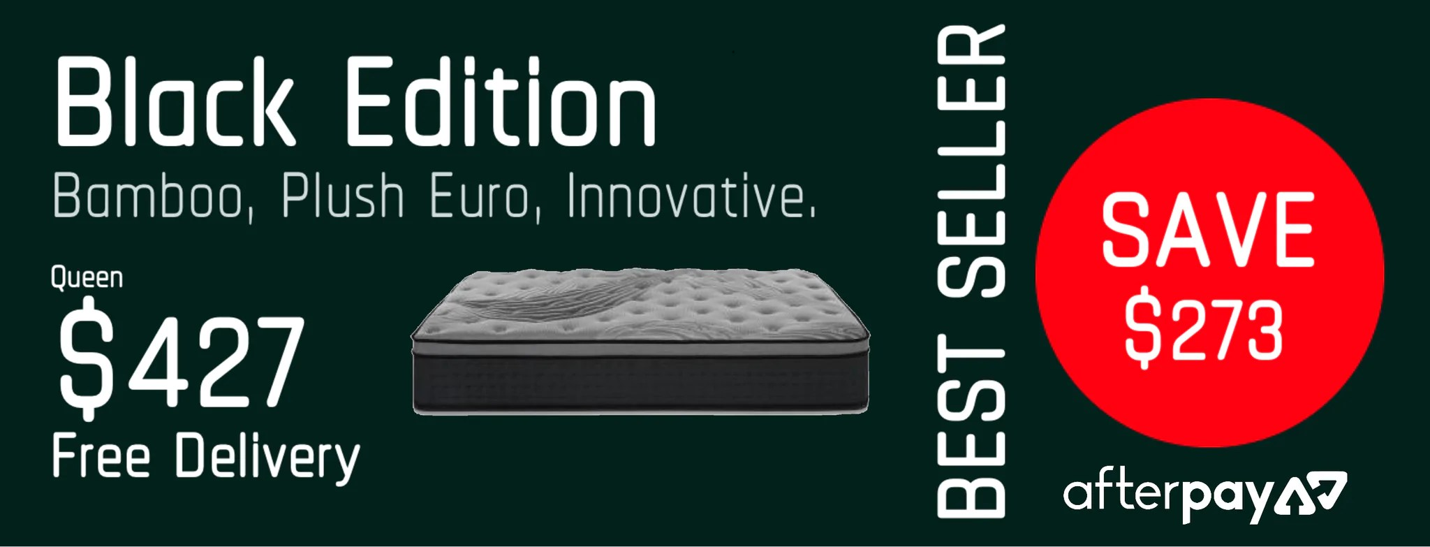 Double Bed Afterpay Premium Plush Foam Mattress Black Edition Afterpay