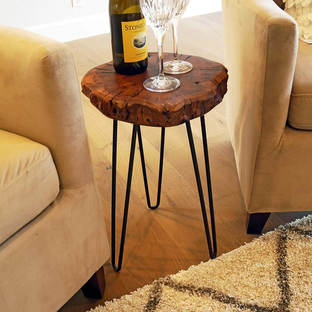 Rustic Wood End Table Natural Wood Stump Rustic Surface End Table