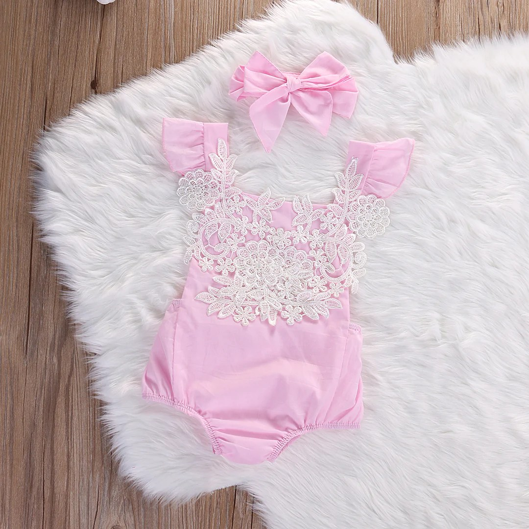Newborn Infant Outfits Baby Girls Clothing Lace Flower Baby Rompers Bow Headband Suits Summer Cute Pink Newborn Infant Outfits Baby Clothes Sets