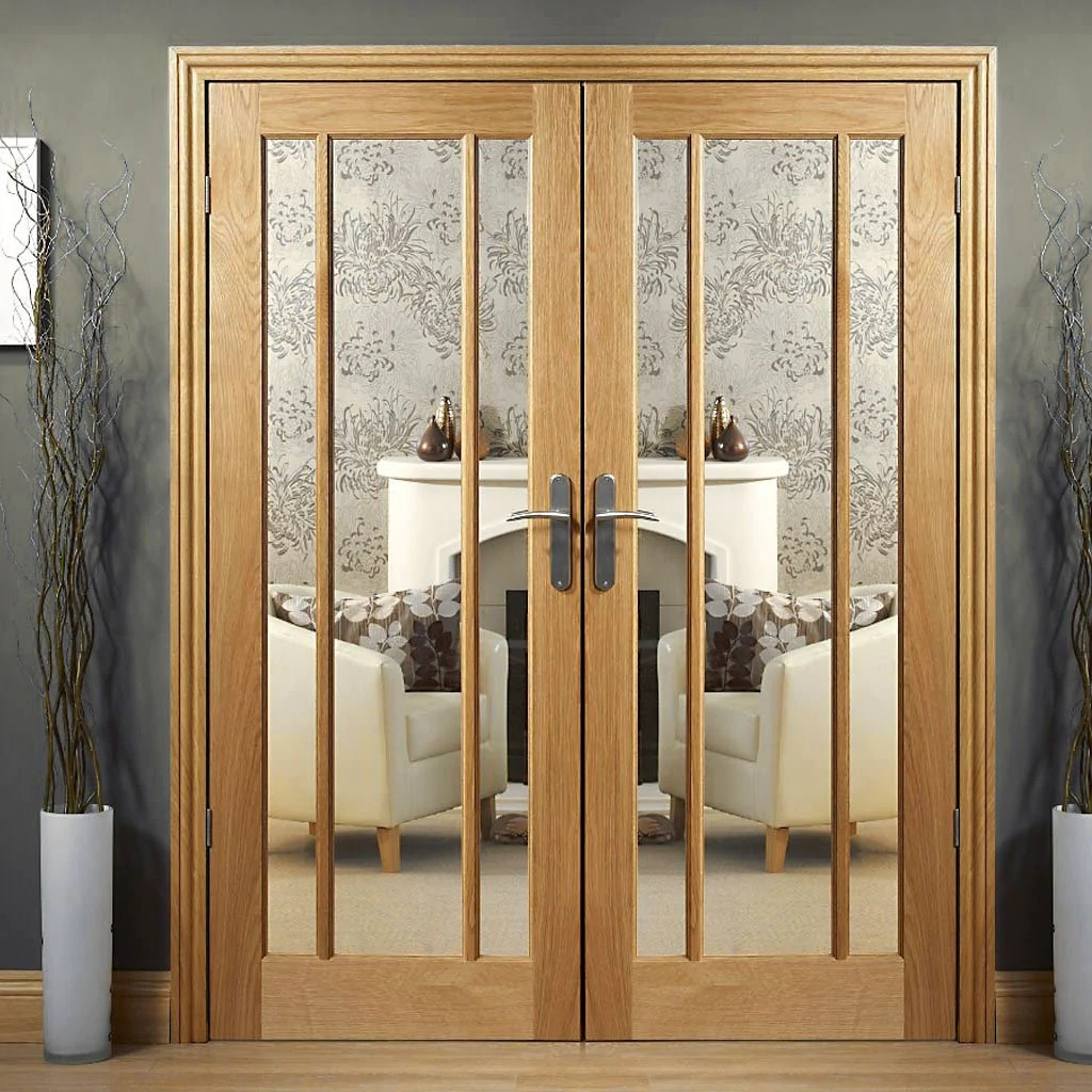 Design Your Own Internal Door Worcester Oak Door Pair - Clear Glass - Internal Double