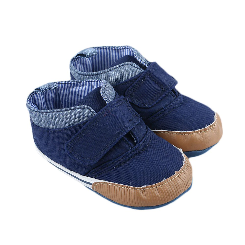 Newborn Crib Shoes 1pair Newborn Baby Boys Cotton Ankle Canvas High Crib Shoes Casual Sneaker Toddler First Walkers