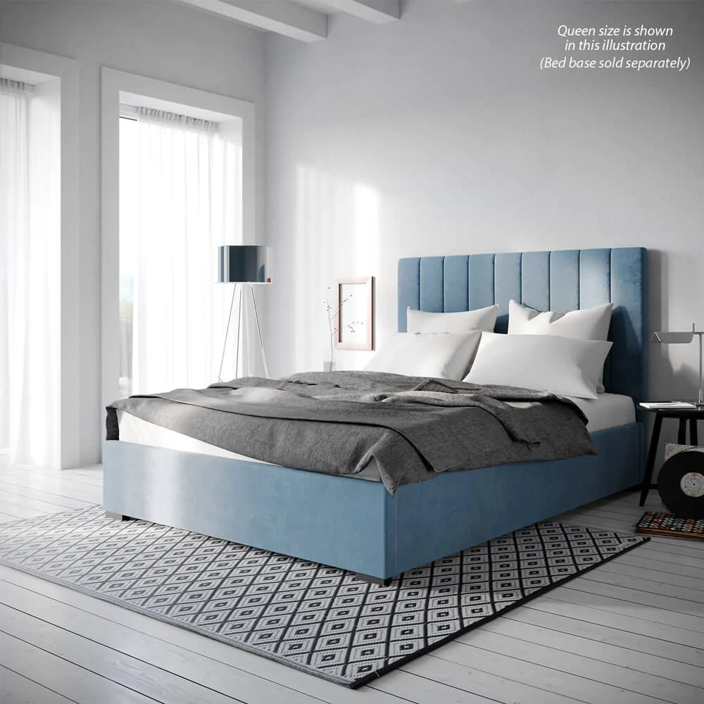 King Bed Ensemble Base Only King Size Blue Velvet Fabric Ensemble Bed Frame Or 120cm Bed Head Sarah Collection