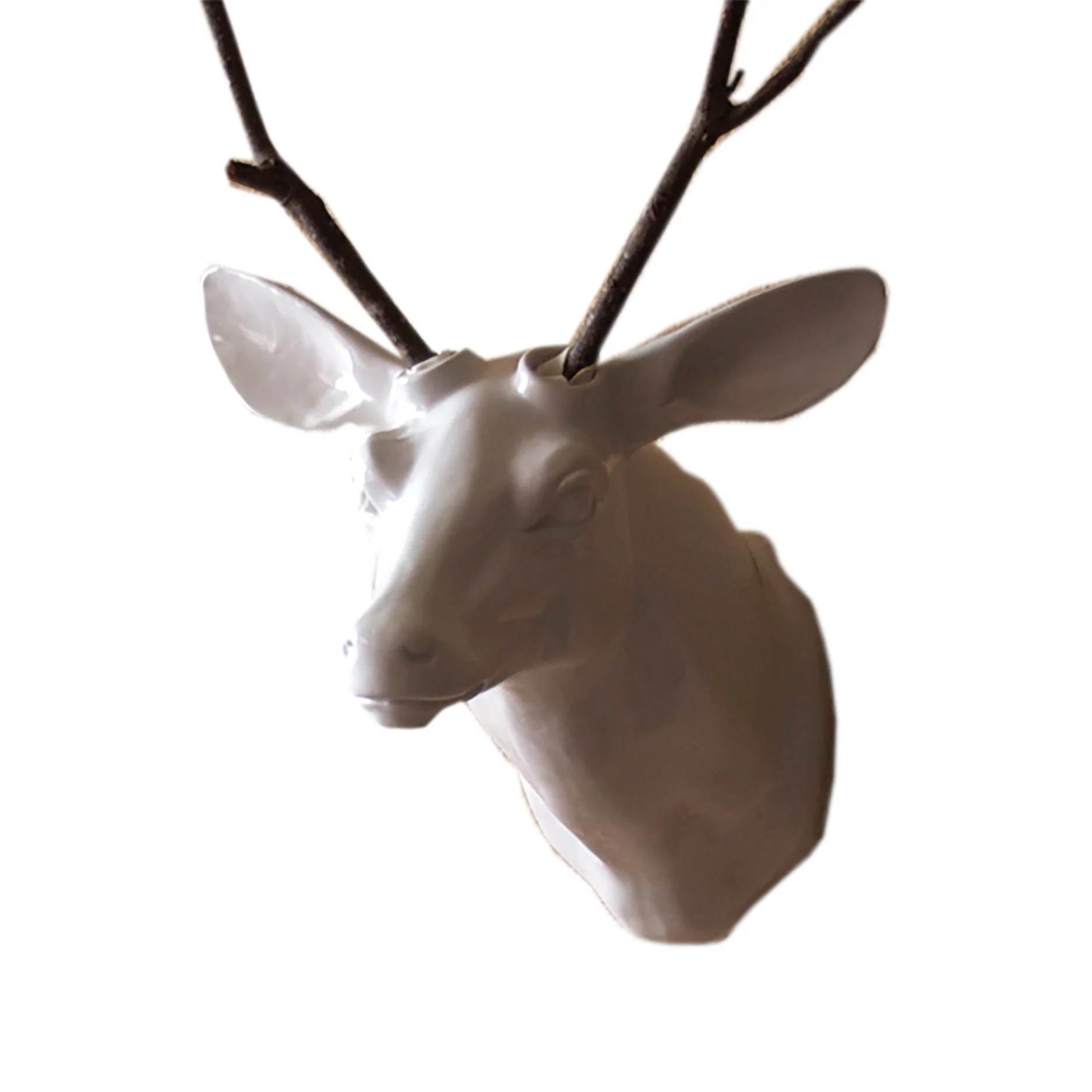 White Porcelain Deer Head Modern Wall Art Woodwaves