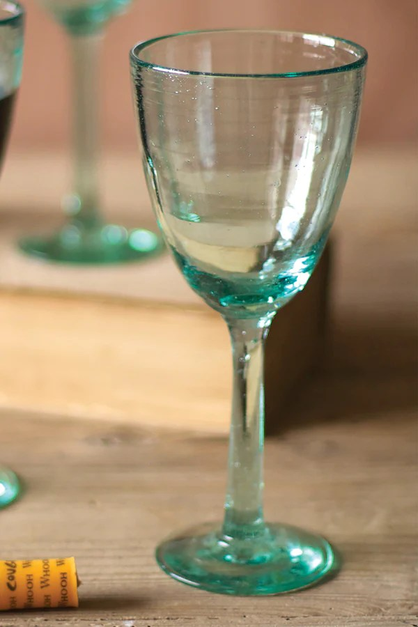 Set Of Six Recycled Glass Wine Glasses Woodwaves