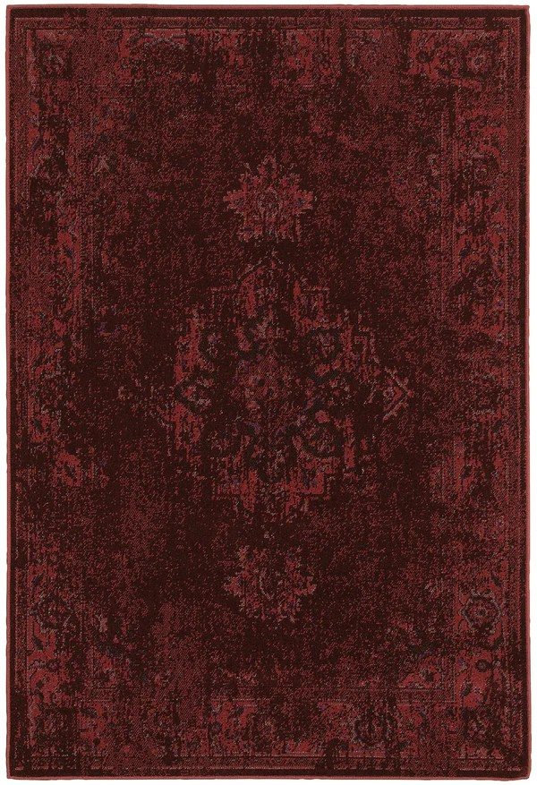 Modern Sofa Dark Red Worn Persian Style Rug - Woodwaves