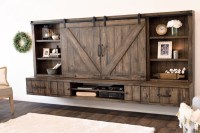 Farmhouse Barn Door Entertainment Center Floating TV Stand ...
