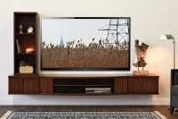 Floating Media Wall Shelf Cabinet - Curve Mocha - 3 Piece ...