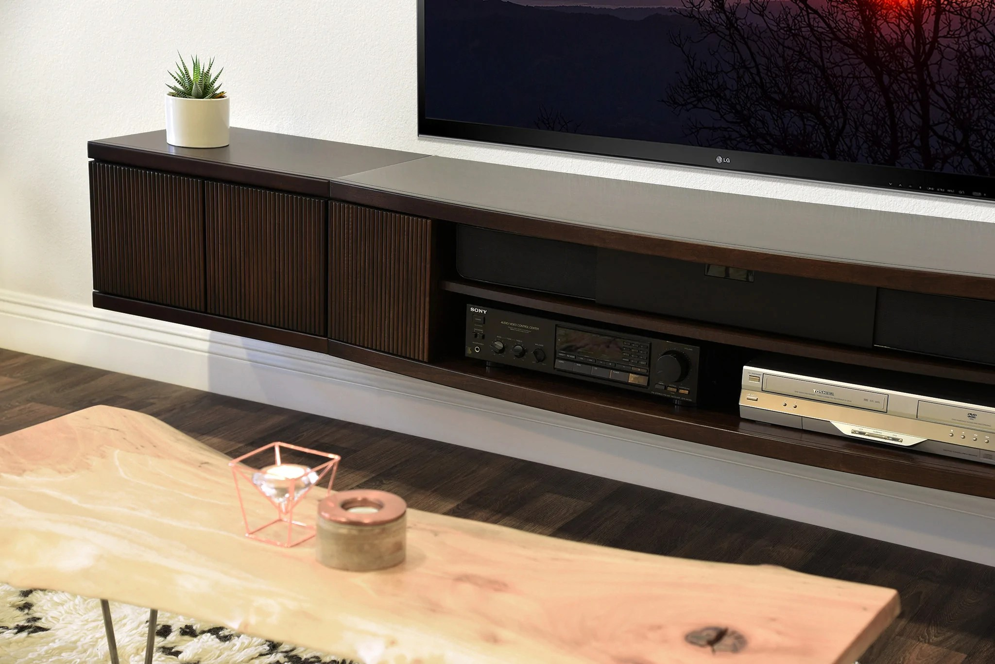Floating Wall Mount Entertainment Center Tv Stand Curve