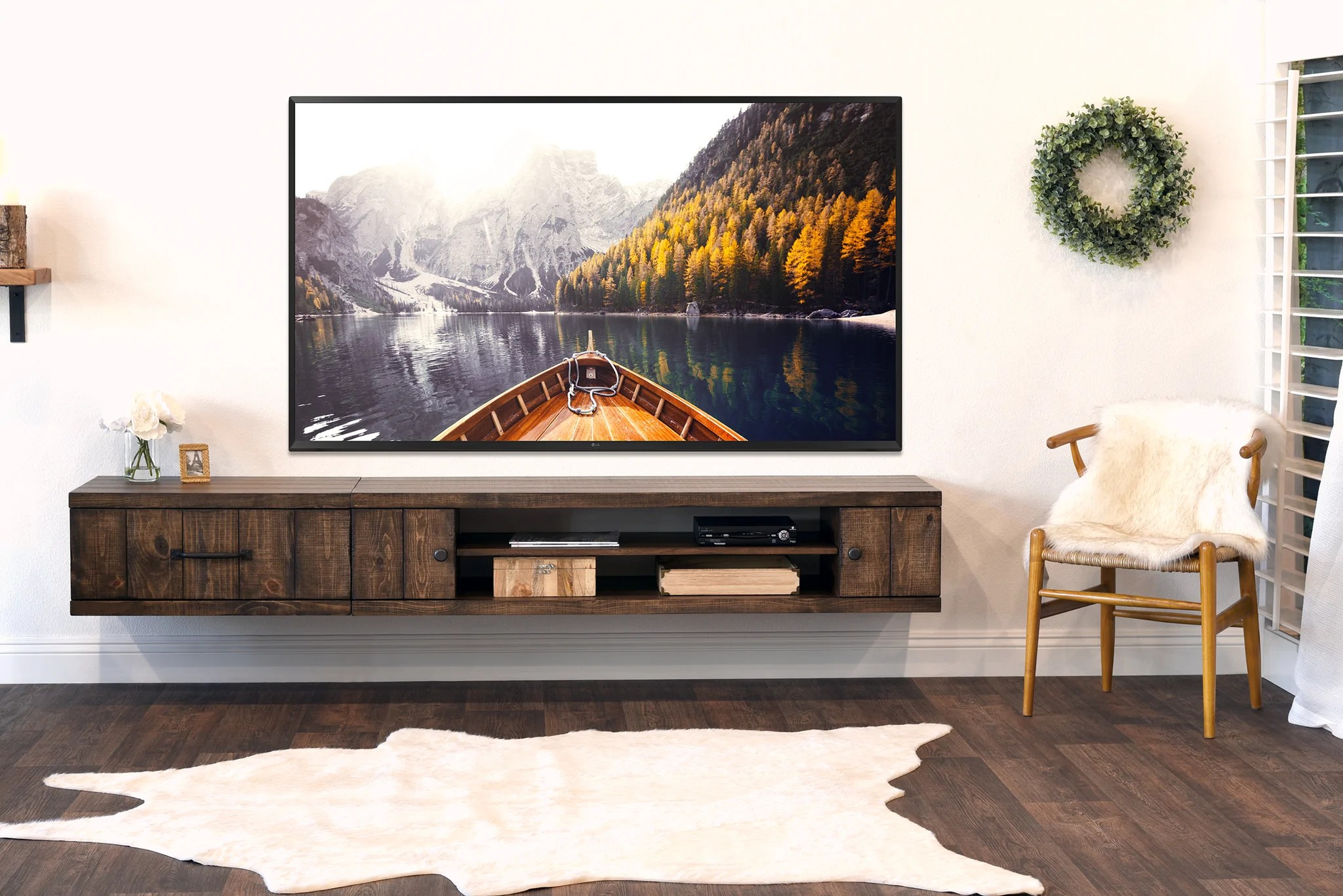 Wood Wall Behind Tv Rustic Barn Wood Style Floating Tv Stand Wall Mount Entertainment Center Farmhouse Spice