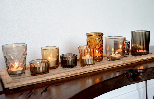 Rustic Bar Stools Glass Tealight Candle Holders With Wood Tray - Woodwaves