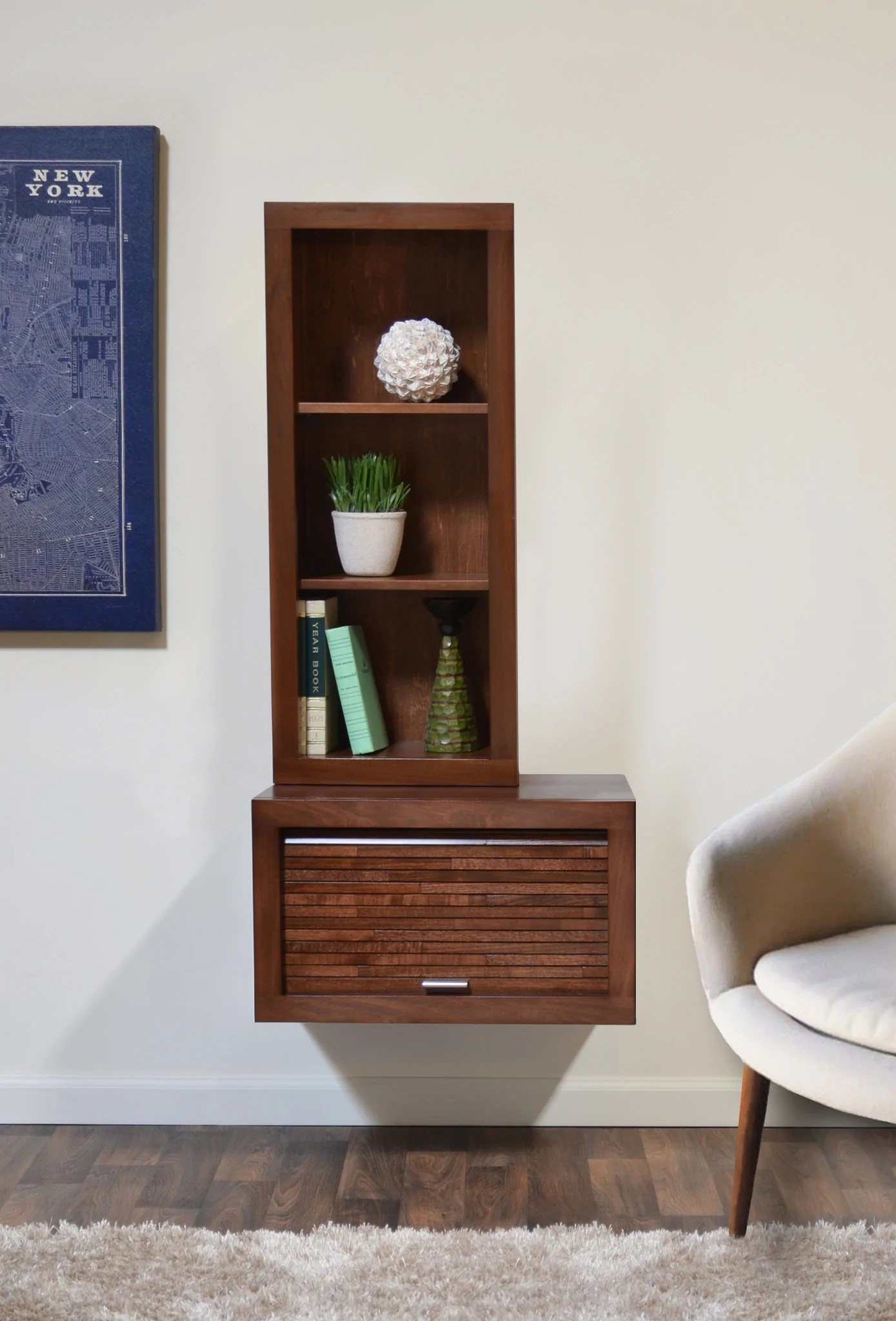In Wall Media Cabinet Wall Mount Audio Media Cabinet Bookcase Eco Geo Mocha