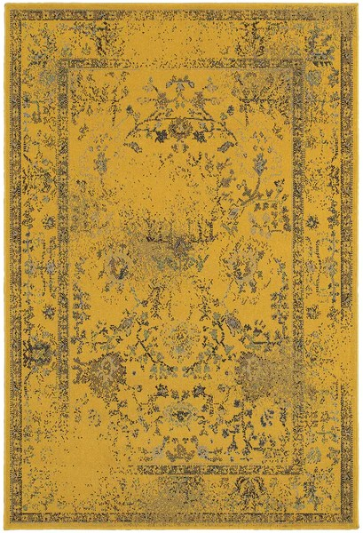 Farmhouse Kitchen Lighting Yellow Overdyed Persian Style Rug - Woodwaves