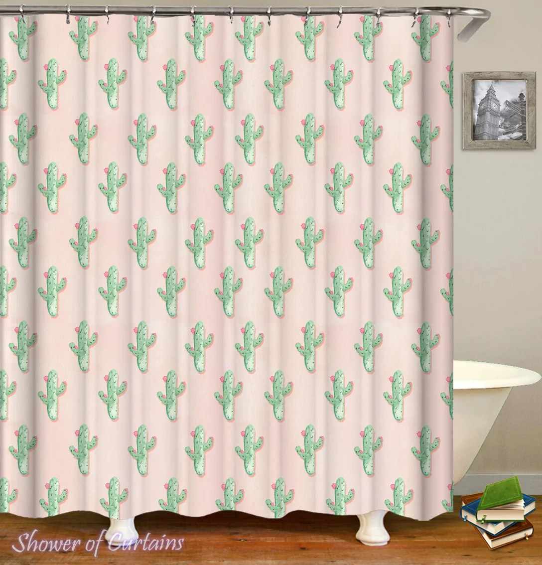 Cute Girly Shower Curtains Floral Mini Cactus