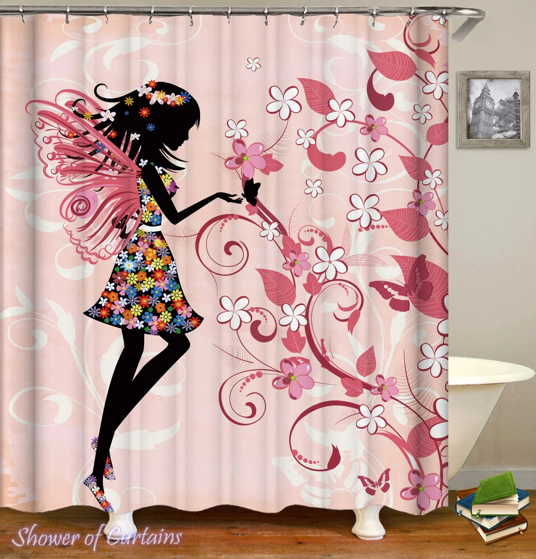 Cute Girly Shower Curtains Girly Black Figure Over Pink