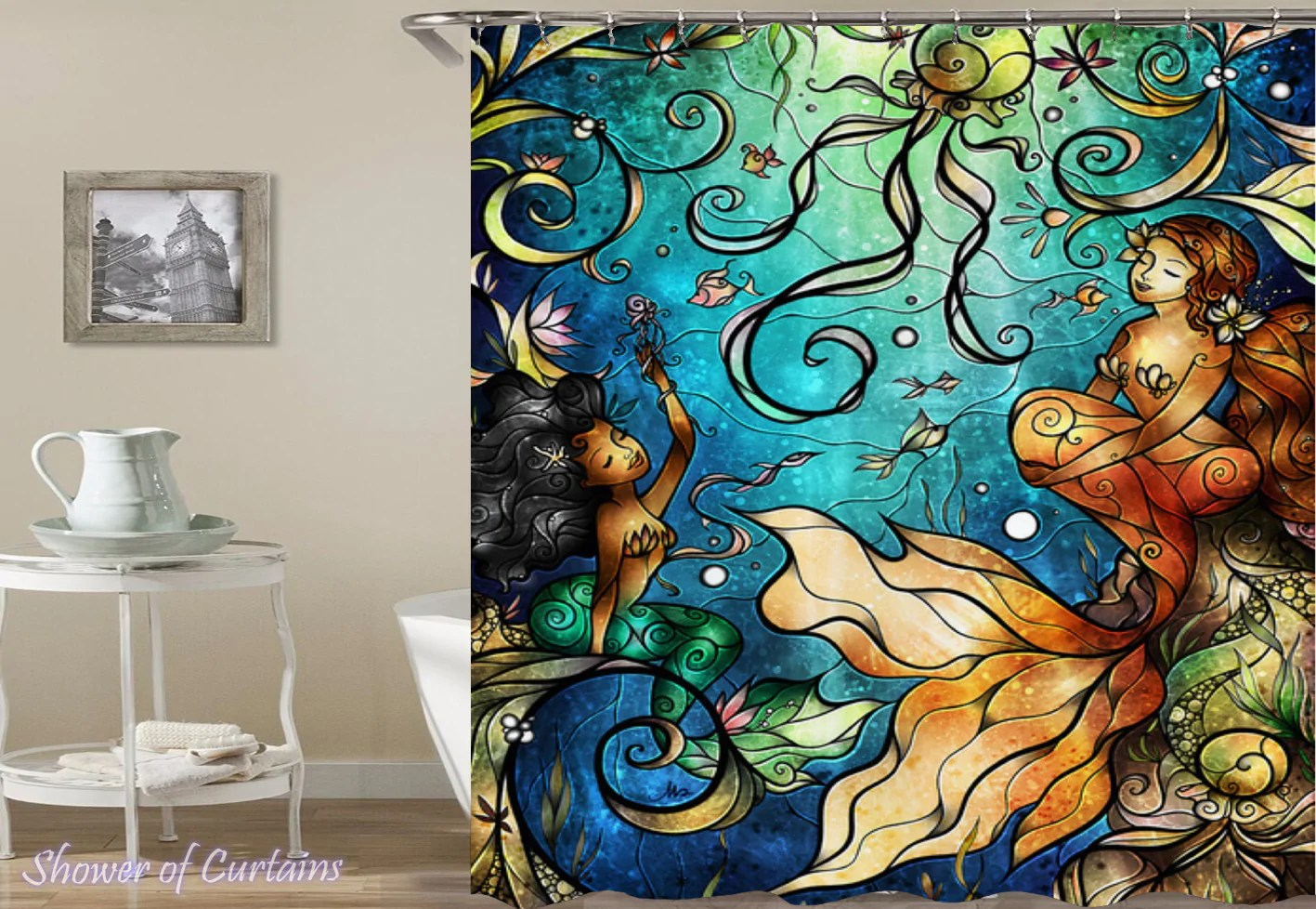 Glass Shower Curtains Stained Glass Mermaid