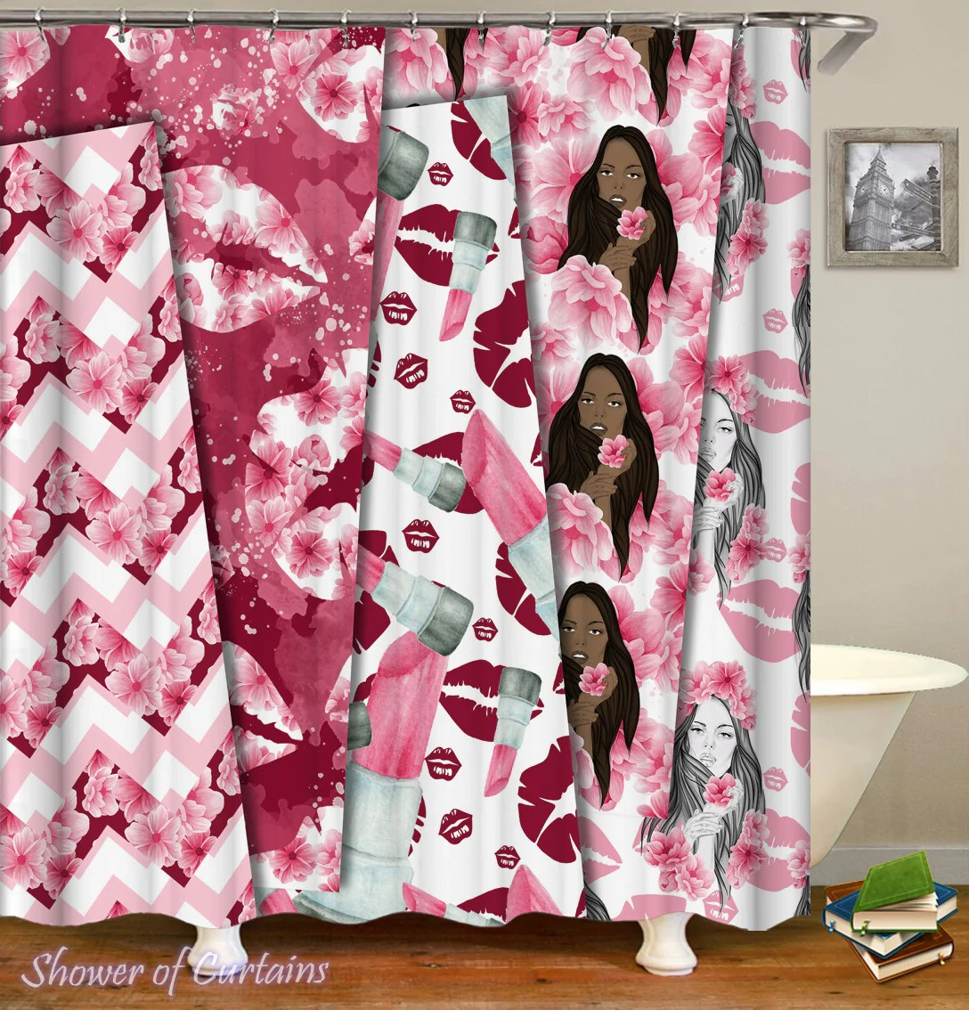 Cute Girly Shower Curtains Pinkish Glow