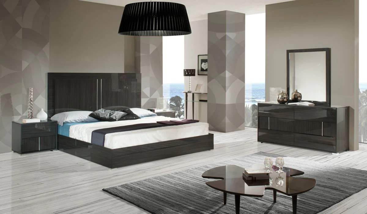 Italian Furniture Bedroom Modrest Ari Grey Lacquer Finish Italian Furniture Bedroom Set