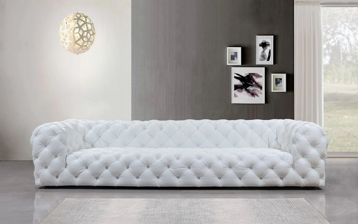 Divani Casa Dexter Transitional White Full Italian Leather Sofa
