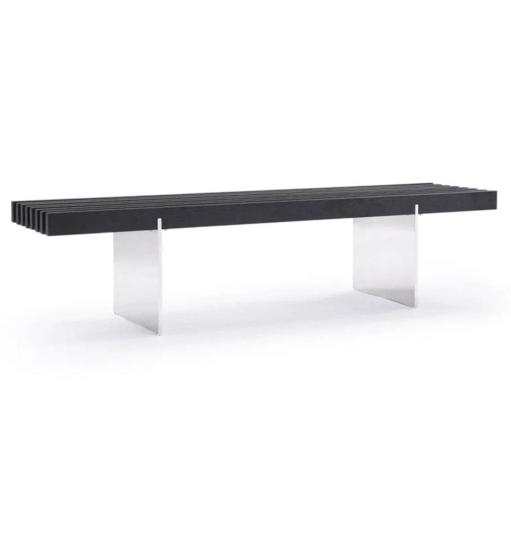 Black Bench Modrest Oxnard Modern Black Ash Dining Bench