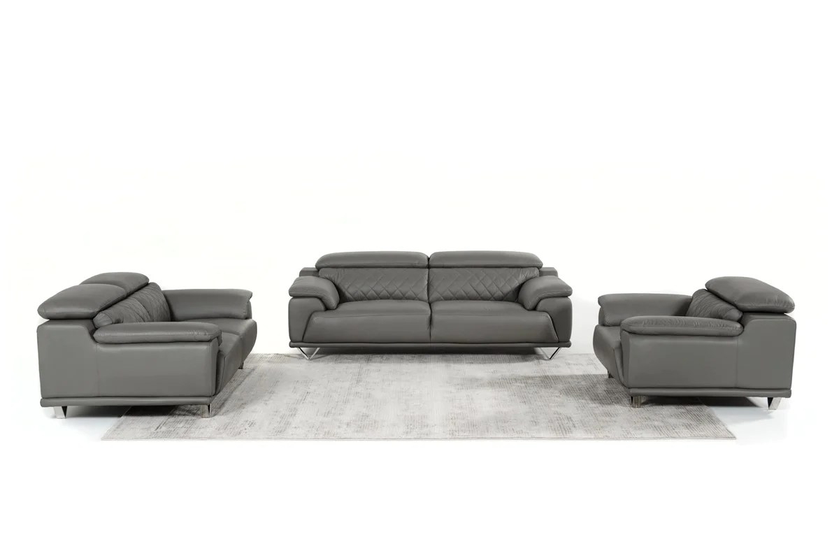 Divani Casa Encore Divani Casa Wolford Modern Grey Leather Sofa Set