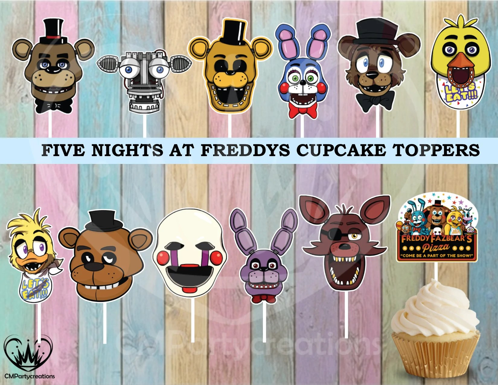 2048 Fnaf Five Nights At Freddy S Birthday Cupcake Toppers Die Cuts