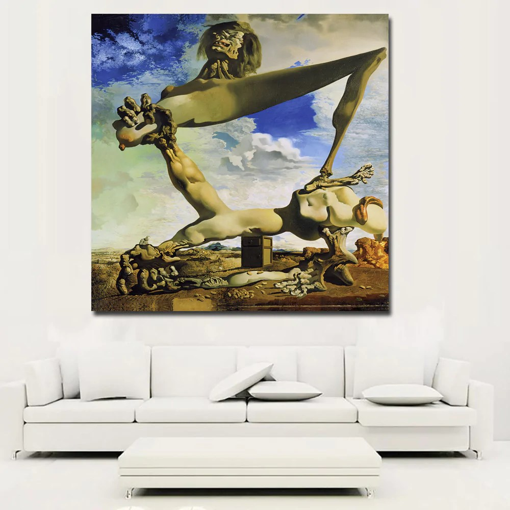 Abstract Art Prints On Canvas Abstract Art Prints Salvador Dali Self Construction Painting Wall