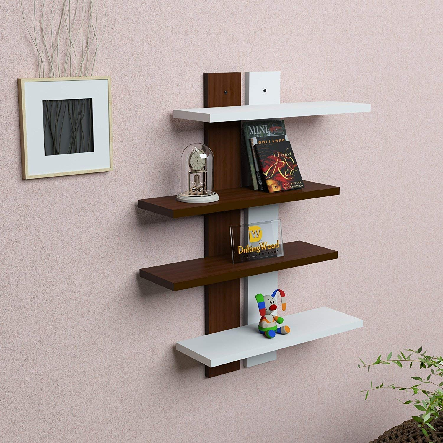 Wall Shelf Design Drifitingwood Wooden Ladder Shape 4 Tier Wall Shelf Designer Wall Rack Shelves Brown White