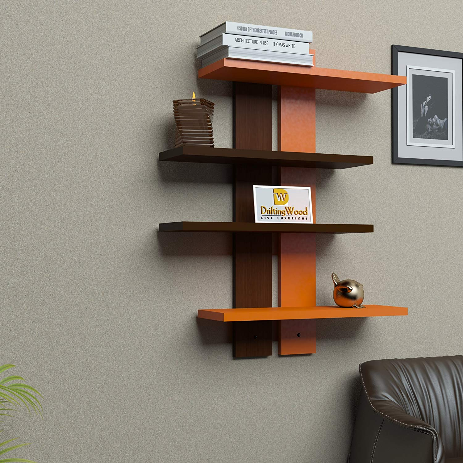 Wall Shelf Design Driftingwood Wooden Ladder Shape 4 Tier Wall Shelf Designer Wall Rack Shelves Orange Brown