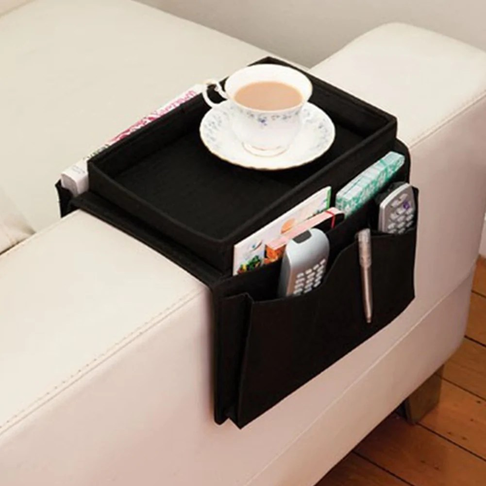 Sofa Arm Organizer Tray Arm Rest Organizer 6 Pockets Couch Arm Table Led Gadgets Life
