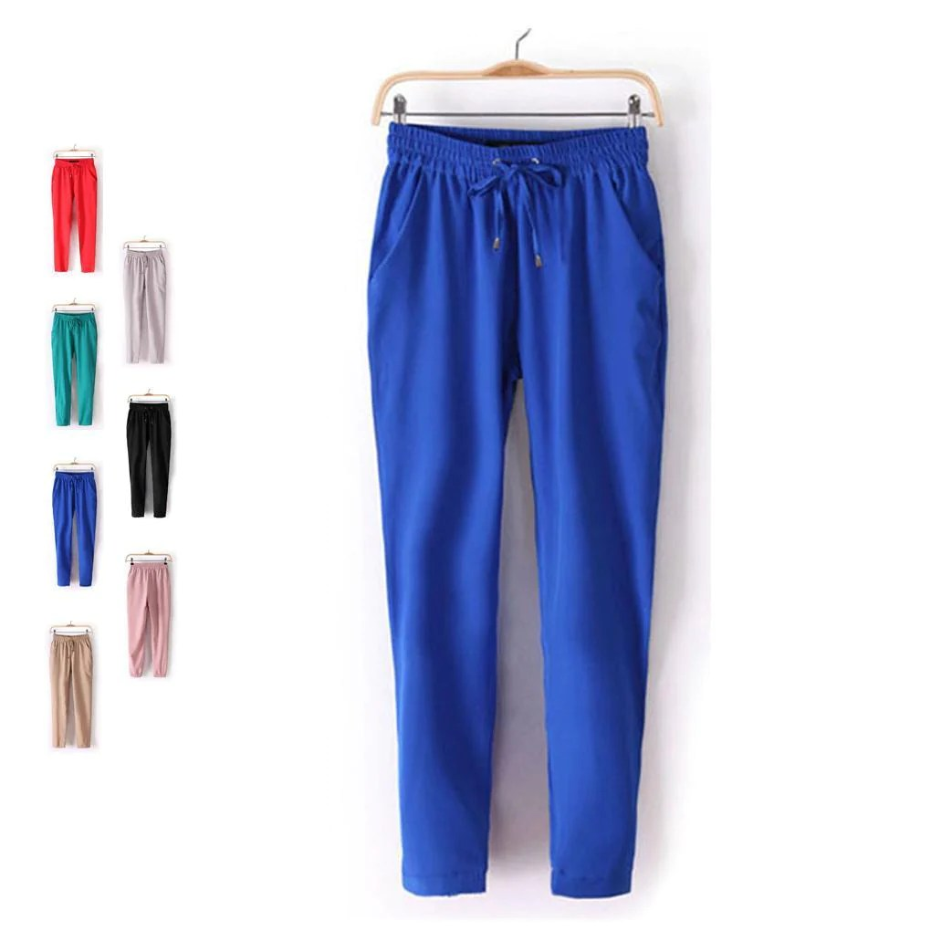 Pants S Xl Chiffon Pants Summer Women Pants Casual Harem Pants Drawstring Elastic Waist Pants Size S Xl Women Trousers