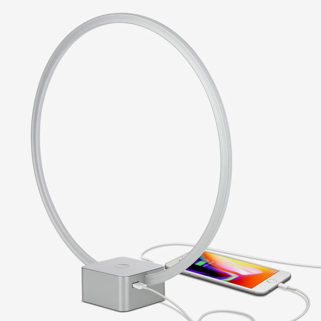 Desk Lamp Circle Usb Led Desk Lamp Bedroom Bedside Table Light Charges Phone