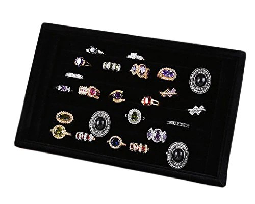 Zjkj Jewelry Ring Display Tray Velvet Earring Showcase