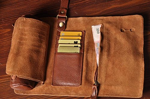 Ancicraft Soft Genuine Leather Handmade Roll Up Pencil Pen