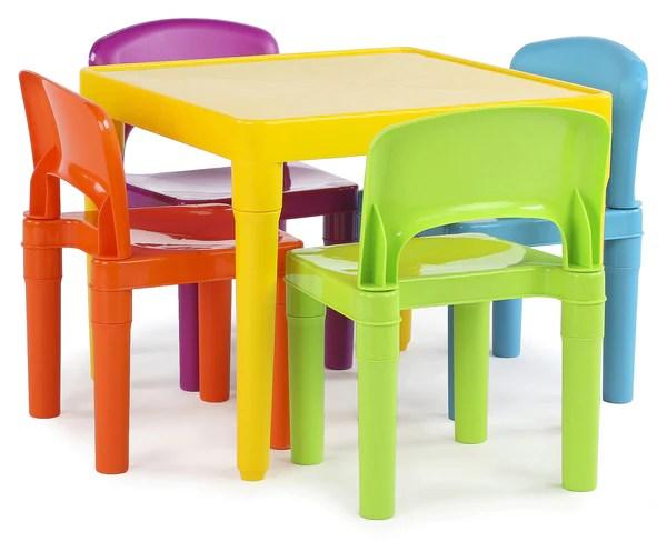 Tot Tutors Kids Plastic Table And 4 Chairs Set Vibrant