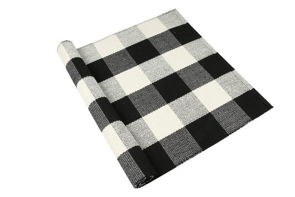 Homcomoda Cotton Plaid Checkered Area Rug Hand Braided